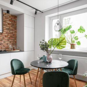 65-metrowe mieszkanie w zabytkowej kamienicy - aneks kuchenny i jadalnia z okrągłym stołem. Projekt: Magdalena i Robert Scheitza, pracownia SHLTR Architekci