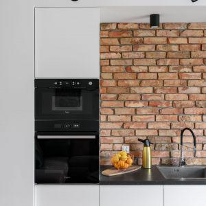 65-metrowe mieszkanie w zabytkowej kamienicy - w kuchni zastosowano proste białe fronty kuchenne. Projekt: Magdalena i Robert Scheitza, pracownia SHLTR Architekci