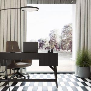 Domowe biuro z pięknym widokiem na ogród. Projekt wnętrza: Paweł Łęczycki, modeko.studio