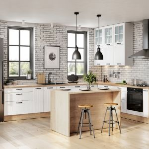 W kuchniach zaaranżowanych w prostym, oszczędnym stylu i jasnej kolorystyce, można zdecydować się na cegiełkę w białym wybarwieniu i nie ograniczać się wyłącznie do pasa nad blatem roboczym. Dzięki jasnemu wybarwieniu taka ozdoba nie zdominuje wnętrza. Fot. KAM