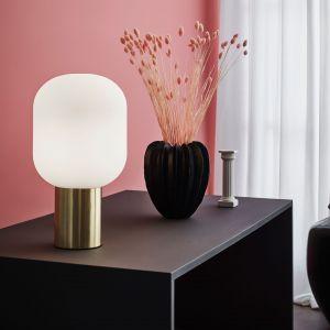 Biała lampa stołowa Markslöjd Brooklyn 1L Brushed Brass,  Bonami.pl, 639 zł