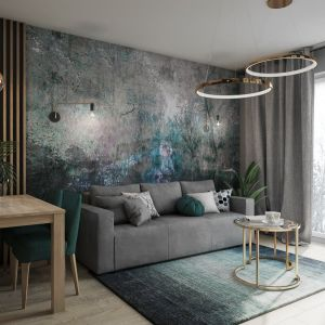 Modna tapeta na ścianie za kanapą. Projekt Justyna Krupka, studio projektowe Przestrzenie