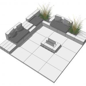 Pomysł na strefę relaksu w ogrodzie z prefabrykatów betonowych. Fot. Polbruk