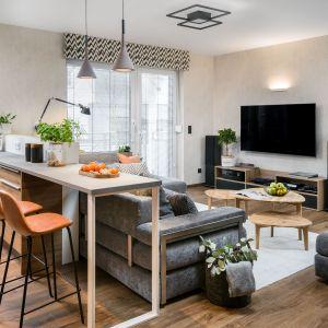 Telewizor w salonie w bloku Projekt Katarzyna Krupa. Fot. Stan Zajączkowski