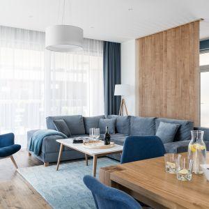 Paleta odcieni niebieskiego zastosowana w nowoczesnym salonie. Projekt: Studio Projekt. Fot. Fotomohito