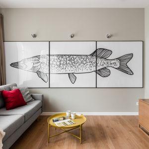 Pomysł na mały salon w bloku - szara kanapa świetnie się prezentuje w towarzystwie bardzo ciekawej grafiki. Projekt i zdjęcia: JT Neptun Park
