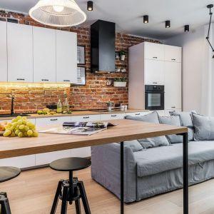 Pomysł na mały salon w bloku połączony z jadalnią i kuchnią. Projekt: Agnieszka Komorowska-Różycka, Katarzyna Kiełek. Fot. Living Box