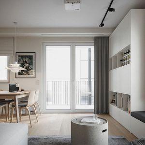 Nowoczesne 68-metrowe mieszkanie urządzone jest w jasnych kolorach. Projekt: Zuzanna Pikiel, Agata Piltz, pracownia p2 Pikiel&Piltz. Wizualizacje: Blok Studio Michał Morzy