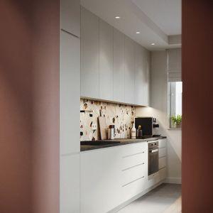 Jednorzędowa kuchnia z białymi szafkami. Projekt: Zuzanna Pikiel, Agata Piltz, pracownia p2 Pikiel&Piltz. Wizualizacje: Blok Studio Michał Morzy