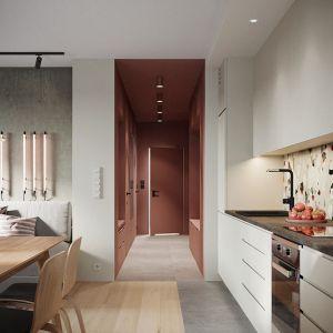 Widok z kuchni w stronę przedpokoju w mocnych kolorach. Projekt: Zuzanna Pikiel, Agata Piltz, pracownia p2 Pikiel&Piltz. Wizualizacje: Blok Studio Michał Morzy