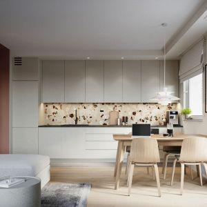 Część dzienna w 68-metrowym mieszkaniu. Projekt: Zuzanna Pikiel, Agata Piltz, pracownia p2 Pikiel&Piltz. Wizualizacje: Blok Studio Michał Morzy