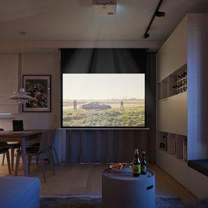 Salon bez problemu może zmienić się też w kino domowe. Projekt: Zuzanna Pikiel, Agata Piltz, pracownia p2 Pikiel&Piltz. Wizualizacje: Blok Studio Michał Morzy