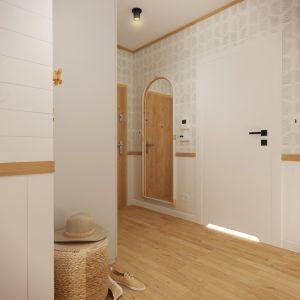Przedpokój zaaranżowany w bieli i beżach. Projekt wnętrza: Weronika Messyasz, Messyasz Design Lab