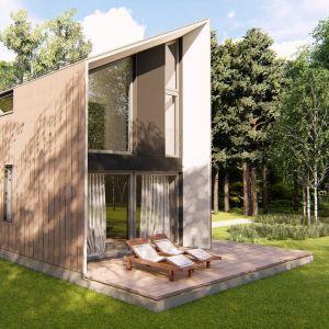 Projekt domu Mini Mini 5 S, powierzchnia zabudowy 35 m2, powierzchnia zabudowy 52,24 m2. Konstrukcja drewniana. Projekt: Extradom.pl