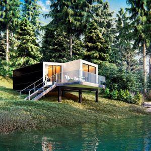 Z490 HB to projekt małego parterowego domu w technologii H-block, powierzchnia użytkowa 26,7 m², powierzchnia zabudowy 31,7 m². Projekt: Z500