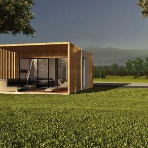Modułowy dom Boxi1, powierzchnia użytkowa: 27,67 m2, powierzchnia zabudowy: 34,72 m2. Projekt: Contibox.pl