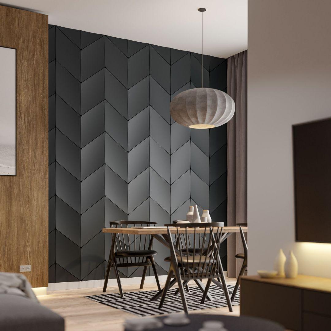 Pomysł na ścianę w salonie, sypialni czy przedpokoju - panele ścienne wykonane z polimeru. Fot. Kalithea
