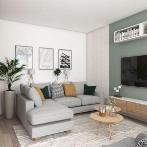 Stonowane kolory dodają salonowi przytulności. Projekt i zdjęcia Pracownia Architektoniczna MGN