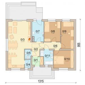 1. Wiatrołap: 3.11 m2 2. Hol: 4.89 m2 3. Salon + Kuchnia32.55 m2 4. Spiżarnia1.72 m2 5. WC1.89 m2 6. Korytarz3.88 m2 7. Pom. gospodarcze7.77 m2 8. Pokój11.38 m2 9. Pokój12.19 m2 10. Pokój12.52 m2 11. Łazienka5.46 m2