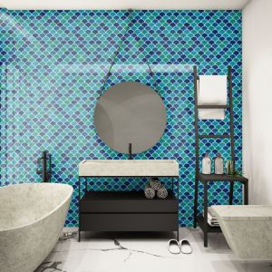 Niebieski kolor w łazience. Flabellum Sea Mix. Fot. Raw Decor