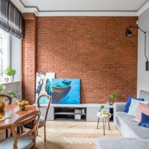 Mały salon, dzięki zastosowaniu cegły na jednej ścianie ma bardzo oryginalny klimat. Projekt: Monika Pniewska. Fot. Marta Behling / Pion Poziom