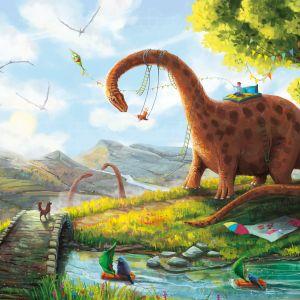 Tapeta z dinozaurami Huśtozaur przedstawia alternatywny świat, gdzie ludzie i dinozaury żyją w zgodzie; na podkładach ekologicznych, bezpiecznych dla dziecka; nowoczesny druk lateksowy na bazie wody. Fot. Laika Studio