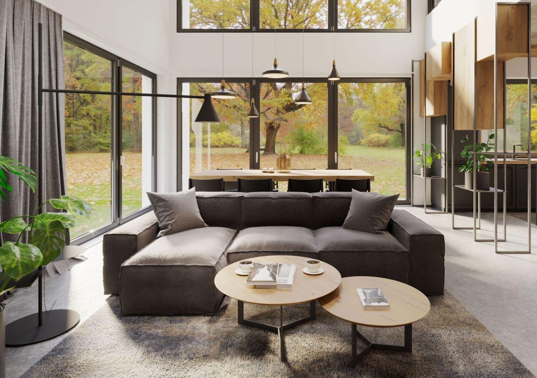 Duże okna zapewniają naturalne światło przez cały dzień. Projekt i zdjęcia Mallumo Architektura Wnętrz