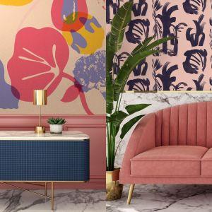 Tapeta na ścianie - pomysł na szybką wiosenną metamorfozę salonu. Na zdjęciu propozycje z najnowszych kolekcji marki Photowall w kolorach, które koniecznie powinny się znaleźć w modnym wiosennym salonie w tym roku. Fot. Photowall