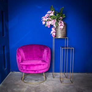 Fotel Xelena w kolorze fioletowym firmy PTMD Collection dostępny w ofercie sklep.zielonafabryka.pl. Fot. Zielona Fabryka