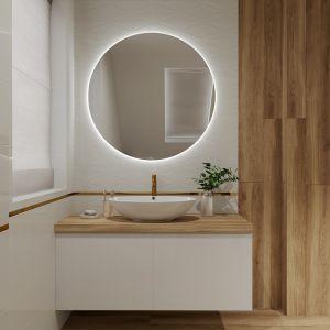 Jasna łazienka ocieplona drewnem. Projekt wnętrza: Justyna Nabielec. Bart-Box. Fot. mat. prasowe Luxrad