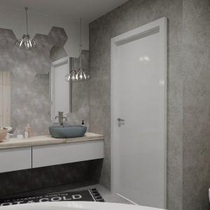 Jasna łazienka, w której główną rolę grają szarości i pastele. Projekt wnętrza: Justyna Nabielec. Bart-Box. Fot. mat. prasowe Luxrad