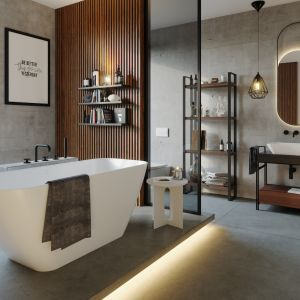 Wszystkie produkty łączy subtelne, uniwersalne wzornictwo, dzięki któremu pasują do każdej łazienki. Na zdjęciu: wanna i umywalka z kolekcji Sidu. Fot. Fjordd