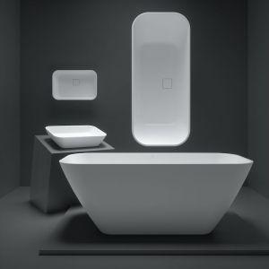 Wszystkie modele wykonane są z kamiennego kompozytu Aquastone®. Na zdjęciu: wanna i umywalka z kolekcji Sidu. Fot. Fjordd