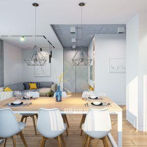Wnętrze podzielono na otwartą przestrzeń dzienną z salonem, jadalnią i kuchnią oraz na cześć nocną z trzema sypialniami. Projekt: arch. Michał Gąsiorowski. Fot. MG Projekt