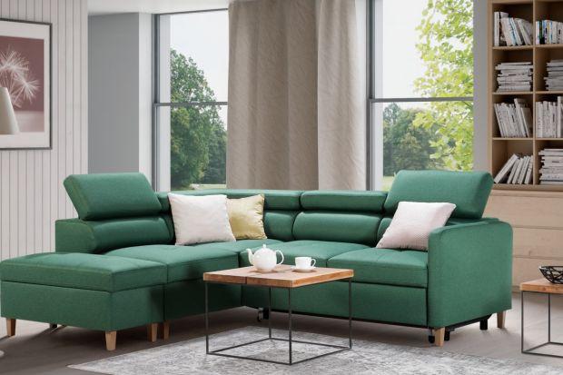 Meble do salonu: piękny narożnik w modnym kolorze. Ta sofa zachywca!