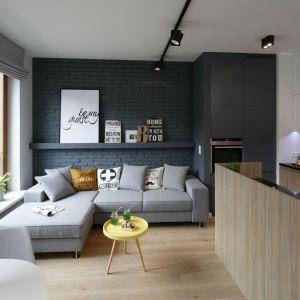 Aranżacja małego salonu. Na ścianie szara cegła, na podłodze wzór drewna ocieplający niewielką powierzchnię. Projekt: Ola Kołodziej, Ula Szmyt. Fot. Bartosz Jarosz