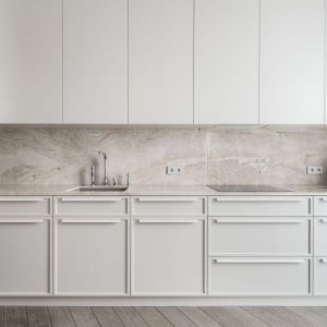 Kuchnia w bieli, piękne eleganckie fronty. Realizacja: Katarzyna Kraszewska Architektura Wnętrz. Fot. Nate Cook Photography