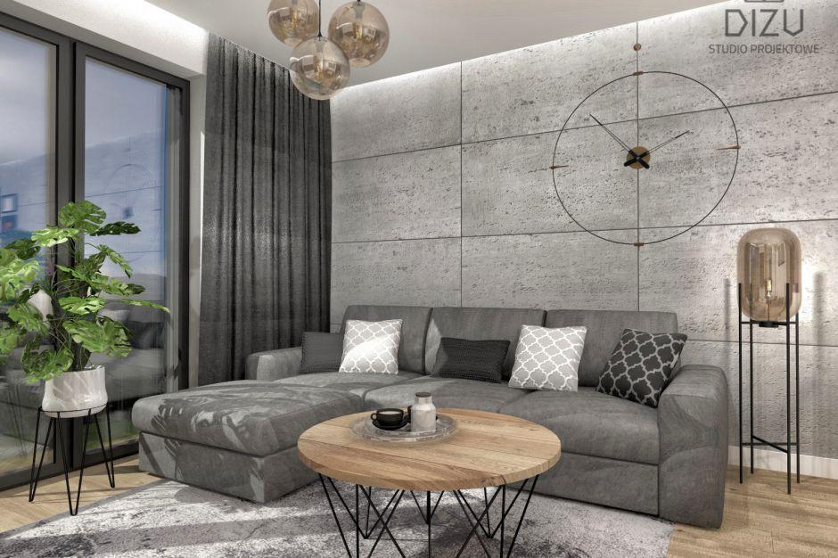 Eleganckie wnętrze  z loftowymi akcentami. Projekt z Bielska-Białej