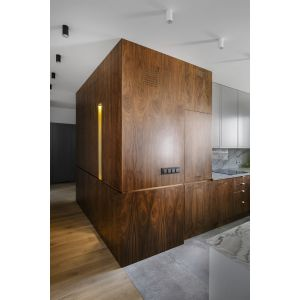 Drewniany fornir piękne prezentuje się w nowoczesnej kuchni. Projekt: Magdalena Bielicka, Maria Zrzelska-Pawlak,  pracownia Magma. Fot. Kroniki Studio