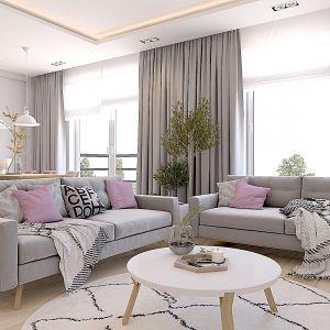 Propozycja 4. Część wypoczynkowa salonu - szara kanapa i pastelowe dodatki. Projekt wnętrza: Katarzyna Czechowicz, Design Me Too