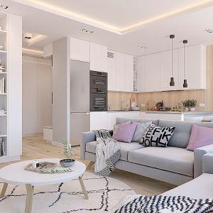 Propozycja 4. Salon w pastelach i biała kuchnia z drewnem. Projekt wnętrza: Katarzyna Czechowicz, Design Me Too