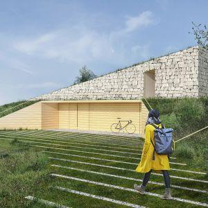 Na elewacji zastosowano lokalne materiały – drewno oraz łamane skały wapienne. Projekt: Adrian Kasperski Architekt