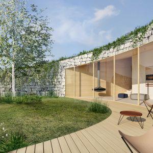 Przenikanie się wnętrza z zewnętrzem. Projekt: Adrian Kasperski Architekt