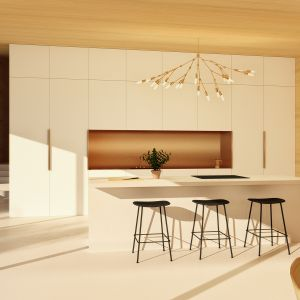 Widok strefy kuchennej. Projekt: Adrian Kasperski Architekt