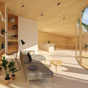 Widok strefy dziennej. Projekt: Adrian Kasperski Architekt