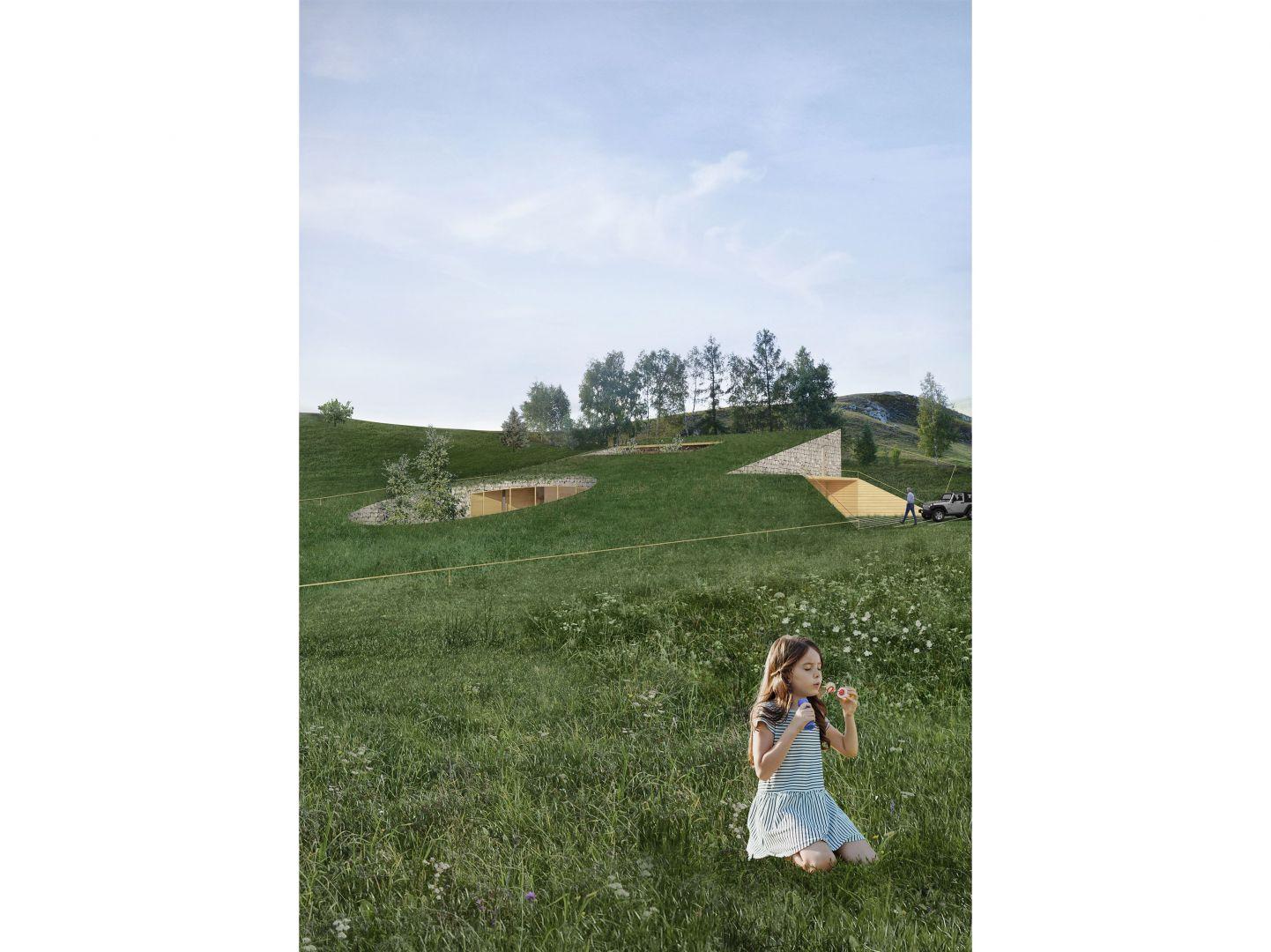 Pomysłem było jak największe zintegrowanie budynku z krajobrazem. Projekt: Adrian Kasperski Architekt