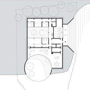 Rzut parteru. Projekt: Adrian Kasperski Architekt