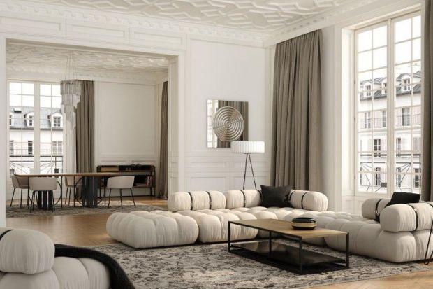 Sofa modułowaGirO z najnowszej kolekcji marki Absynth przywodzi na myśl wnętrza paryskich kamienic. Jak wam się podoba taki pomysł namebel wypoczynkowy do salonu?