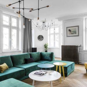 Kanapa w jasnym salonie ma kolor głębokiej butelkowej zieleni. Projekt: Anna Maria Sokołowska. Fot. Fotomohito