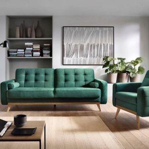 Zielona sofa z pikowaniami w stylu vintage. Fot. Sweet Sit